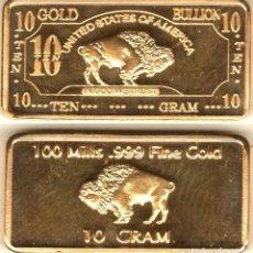 Reproducciones billetes y monedas: LINGOTE DE 10 GRAMOS EN ORO DE 24KT. DISEÑO BUFALO Y MAPPLE, COBRE PURO 999.. Lote 247289085
