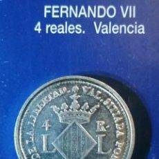 Reproducciones billetes y monedas: 4 REALES FERNANDO VII VALENCIA. Lote 214608713