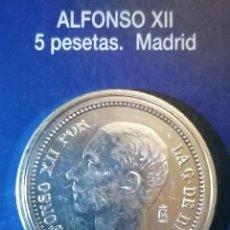 Reproducciones billetes y monedas: 5 PESETA ALFONSO XII MADRID. Lote 214608755
