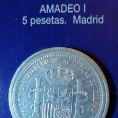 Reproducciones billetes y monedas: 5 PESETAS AMADEO I MADRID. Lote 214608895