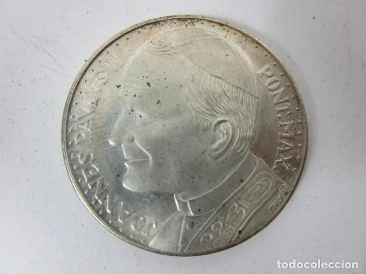 MONEDA CONMEMORATIVA BAÑADA EN PLATA: VISITA PAPA JUAN PABLO II A ESPAÑA - AÑO 1982 - 3,5 CM. (Numismática - Reproducciones)