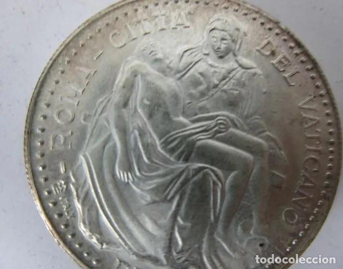 Reproducciones billetes y monedas: MONEDA CONMEMORATIVA BAÑADA EN PLATA: Visita Papa Juan Pablo II a España - Año 1982 - 3,5 CM. - Foto 2 - 214925960