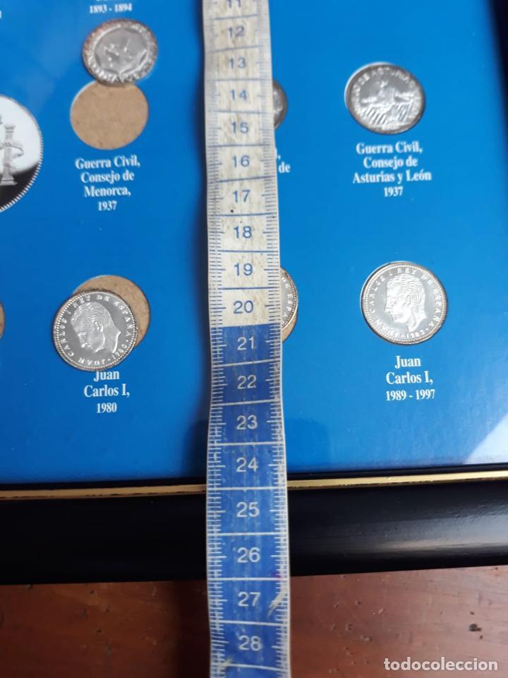 Reproducciones billetes y monedas: historia de la peseta cuadro coleccion - Foto 2 - 216011938