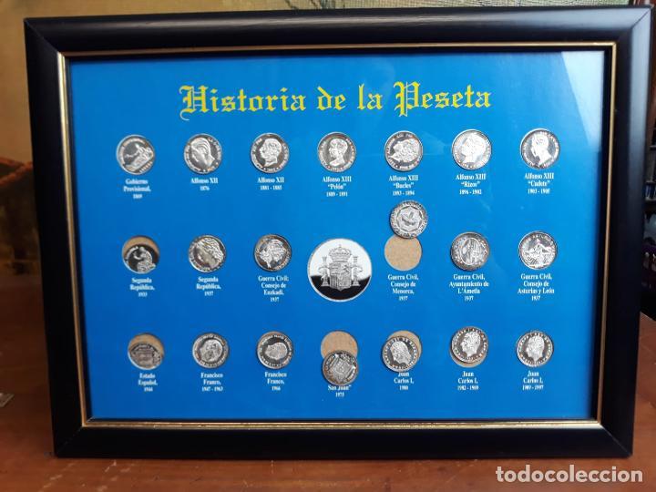 HISTORIA DE LA PESETA CUADRO COLECCION (Numismática - Reproducciones)