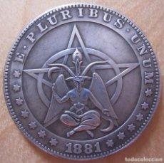 Reproducciones billetes y monedas: MONEDA UN DÓLAR AMERICANO 1881 USA DIABLO GRAN TAMAÑO. Lote 216719371