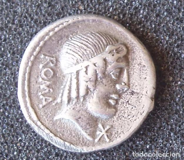 COPIA EN PLATA DE DENARIO CAECILIUS METELLUS PIUS 3,4 GR. (Numismática - Reproducciones)