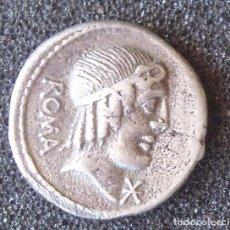 Reproducciones billetes y monedas: COPIA EN PLATA DE DENARIO CAECILIUS METELLUS PIUS 3,4 GR.. Lote 217058508