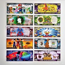 Reproducciones billetes y monedas: SET DE 10 BILLETES DIBUJOS ANIMADOS TV Y CINE COLECCION CONMEMORATVA. Lote 217653530
