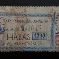 Reproducciones billetes y monedas: B-13 VALE POR 1 KILO DE HABAS... 1940... LA ALBERCA MURCIA.. ES EL DE LAS FOTO. Lote 217714217