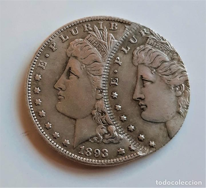 USA MORGAN ONE DOLLAR 1893 ERROR DE MONEDA - 40.MM DIAMETRO (Numismática - Reproducciones)
