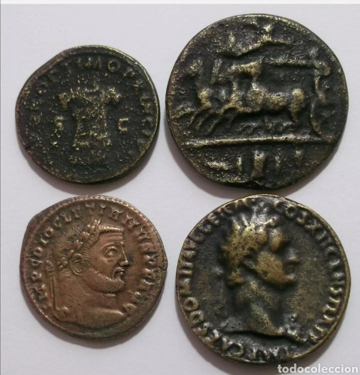 Reproducciones billetes y monedas: Lote 4 reproduciones griegas y romanas - Foto 2 - 218038052