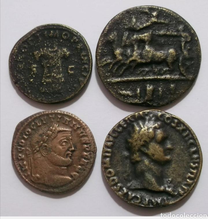 LOTE 4 REPRODUCIONES GRIEGAS Y ROMANAS (Numismática - Reproducciones)