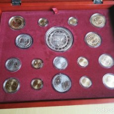 Reproducciones billetes y monedas: LA HISTORIA DE LA MONEDA ESPAÑOLA 17 MONEDAS DE PLATA Y ORO EMISIÓN ESPECIAL CONMEMORATIVA FNMT. Lote 218581483