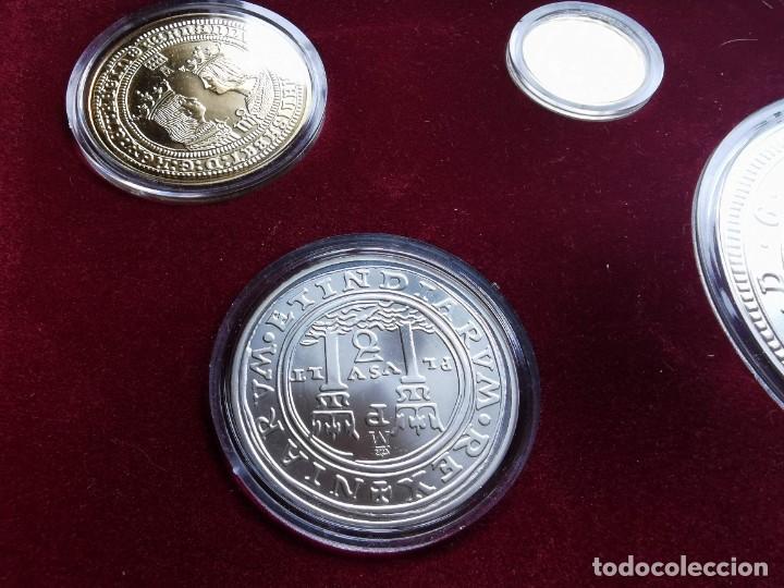 Reproducciones billetes y monedas: LA HISTORIA DE LA MONEDA ESPAÑOLA 17 MONEDAS DE PLATA Y ORO EMISIÓN ESPECIAL CONMEMORATIVA FNMT - Foto 5 - 218581483