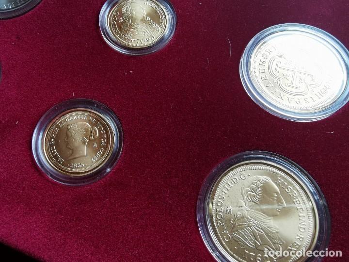 Reproducciones billetes y monedas: LA HISTORIA DE LA MONEDA ESPAÑOLA 17 MONEDAS DE PLATA Y ORO EMISIÓN ESPECIAL CONMEMORATIVA FNMT - Foto 8 - 218581483