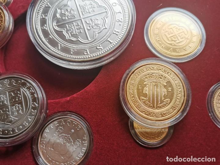 Reproducciones billetes y monedas: LA HISTORIA DE LA MONEDA ESPAÑOLA 17 MONEDAS DE PLATA Y ORO EMISIÓN ESPECIAL CONMEMORATIVA FNMT - Foto 10 - 218581483