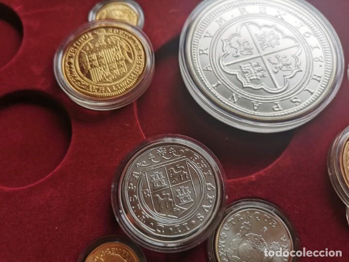 Reproducciones billetes y monedas: LA HISTORIA DE LA MONEDA ESPAÑOLA 17 MONEDAS DE PLATA Y ORO EMISIÓN ESPECIAL CONMEMORATIVA FNMT - Foto 11 - 218581483