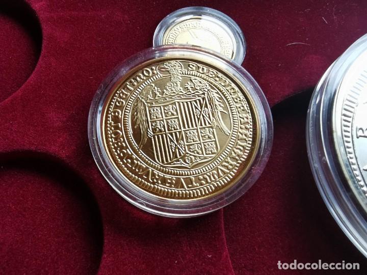 Reproducciones billetes y monedas: LA HISTORIA DE LA MONEDA ESPAÑOLA 17 MONEDAS DE PLATA Y ORO EMISIÓN ESPECIAL CONMEMORATIVA FNMT - Foto 13 - 218581483
