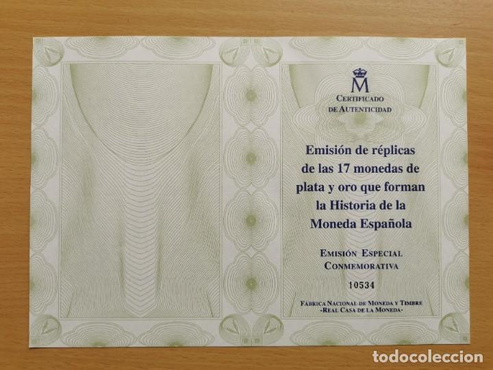 Reproducciones billetes y monedas: LA HISTORIA DE LA MONEDA ESPAÑOLA 17 MONEDAS DE PLATA Y ORO EMISIÓN ESPECIAL CONMEMORATIVA FNMT - Foto 16 - 218581483