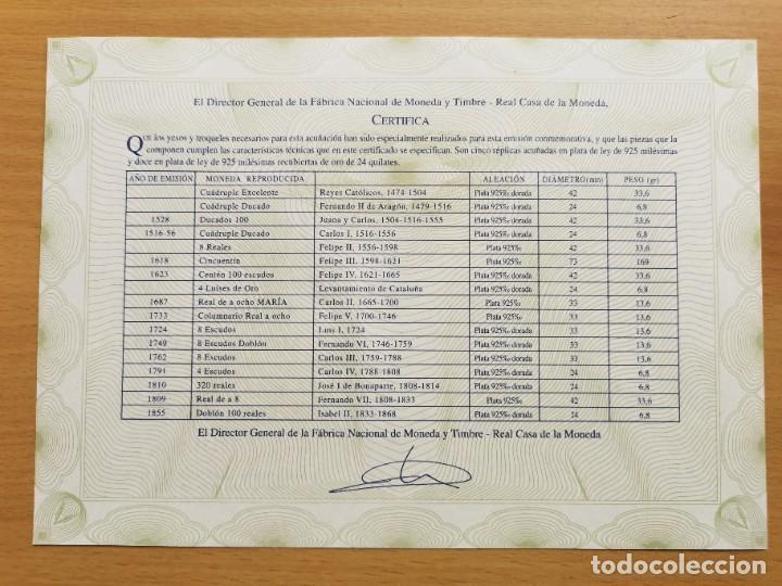 Reproducciones billetes y monedas: LA HISTORIA DE LA MONEDA ESPAÑOLA 17 MONEDAS DE PLATA Y ORO EMISIÓN ESPECIAL CONMEMORATIVA FNMT - Foto 17 - 218581483