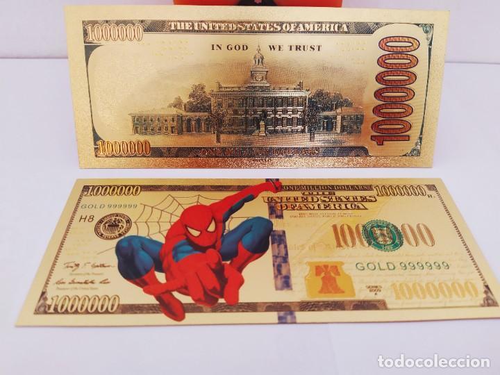 Reproducciones billetes y monedas: EXCLUSIVO BILLETE DE COLLECCION DE SPIDERMAN 99,9% ORO 24 K CON CERTIFICADO DE AUTENTICIDAD - Foto 2 - 262136960