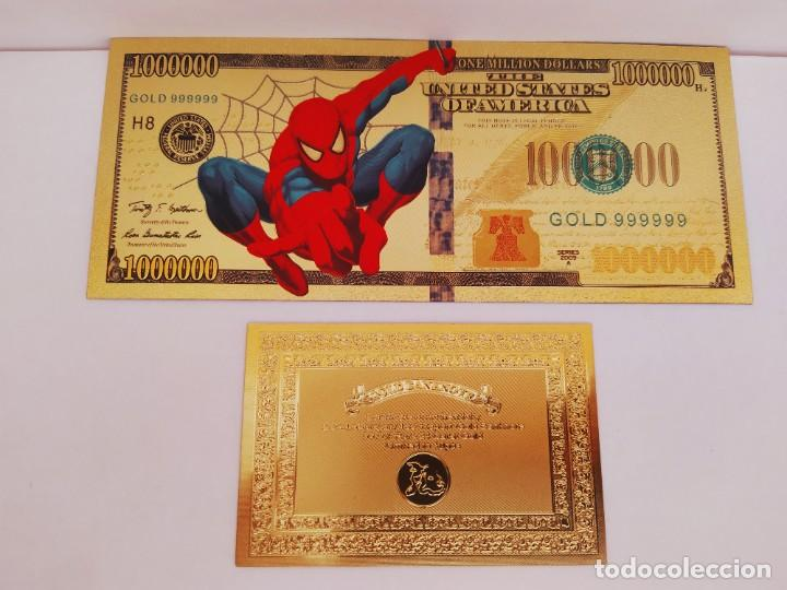 Reproducciones billetes y monedas: EXCLUSIVO BILLETE DE COLLECCION DE SPIDERMAN 99,9% ORO 24 K CON CERTIFICADO DE AUTENTICIDAD - Foto 3 - 262136960
