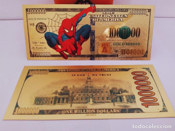 Reproducciones billetes y monedas: EXCLUSIVO BILLETE DE COLLECCION DE SPIDERMAN 99,9% ORO 24 K CON CERTIFICADO DE AUTENTICIDAD - Foto 5 - 262136960