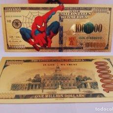 Reproductions billets et monnaies: EXCLUSIVO BILLETE DE COLLECCION DE SPIDERMAN 99,9% ORO 24 K CON CERTIFICADO DE AUTENTICIDAD. Lote 282983853