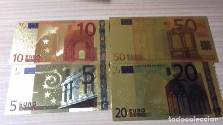 LOTE DE BILLETES DE EUROS CON PLANCHA DE ORO Y CERTIFICADO DE AUTENCIDAD (Numismática - Reproducciones)