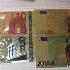 Reproducciones billetes y monedas: LOTE DE BILLETES DE EUROS CON PLANCHA DE ORO Y CERTIFICADO DE AUTENCIDAD. Lote 219694921