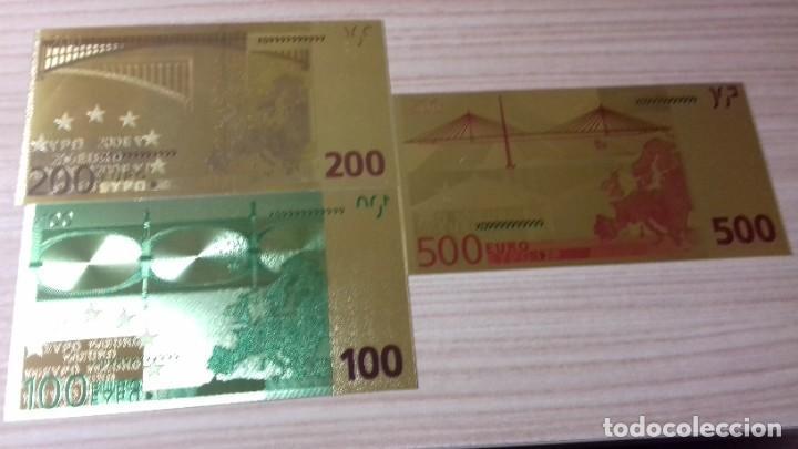 Reproducciones billetes y monedas: Lote de billetes de Euros con plancha de oro y certificado de autencidad - Foto 3 - 219694921