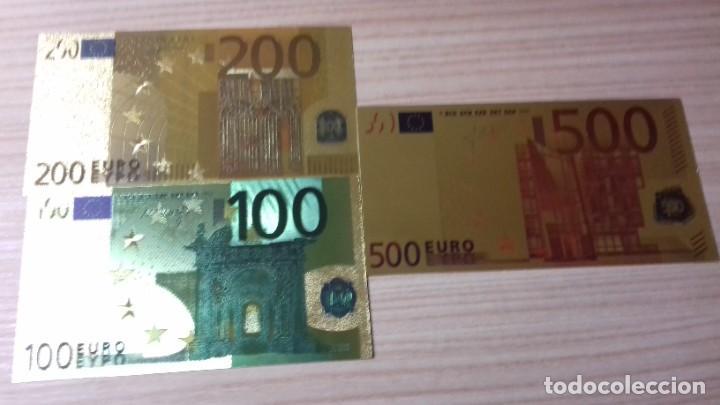 Reproducciones billetes y monedas: Lote de billetes de Euros con plancha de oro y certificado de autencidad - Foto 4 - 219694921