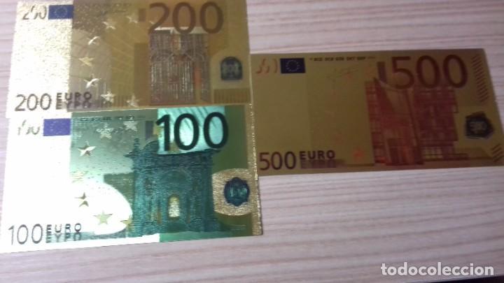 Reproducciones billetes y monedas: Lote de billetes de Euros con plancha de oro y certificado de autencidad - Foto 5 - 219694921