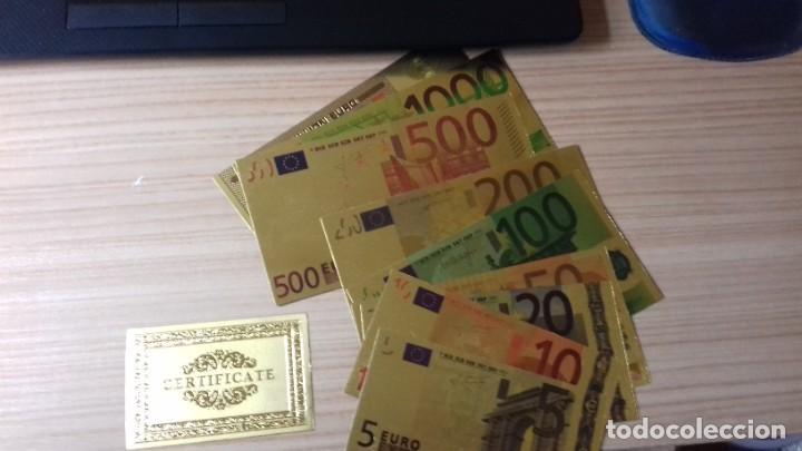 Reproducciones billetes y monedas: Lote de billetes de Euros con plancha de oro y certificado de autencidad - Foto 7 - 219694921