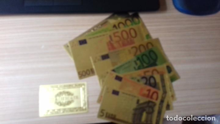 Reproducciones billetes y monedas: Lote de billetes de Euros con plancha de oro y certificado de autencidad - Foto 8 - 219694921