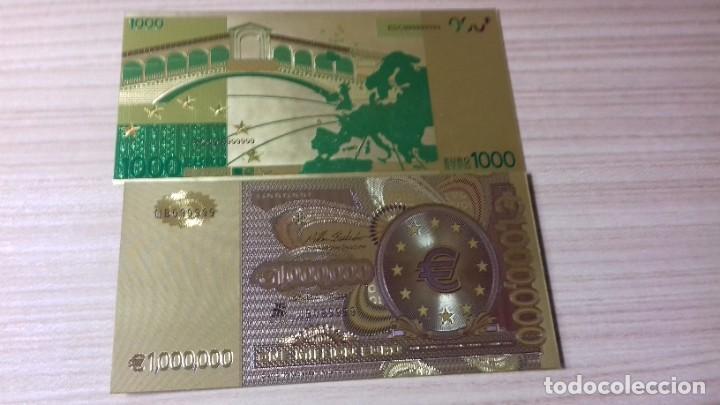 Reproducciones billetes y monedas: Lote de billetes de Euros con plancha de oro y certificado de autencidad - Foto 12 - 219694921
