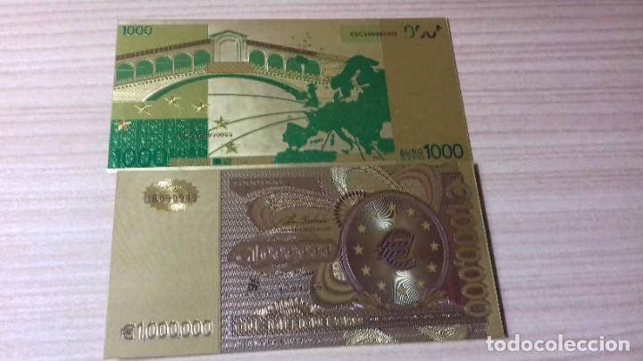 Reproducciones billetes y monedas: Lote de billetes de Euros con plancha de oro y certificado de autencidad - Foto 13 - 219694921