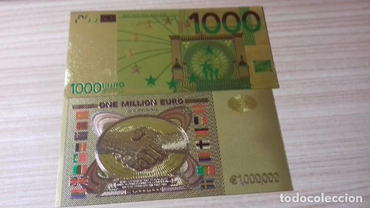Reproducciones billetes y monedas: Lote de billetes de Euros con plancha de oro y certificado de autencidad - Foto 14 - 219694921