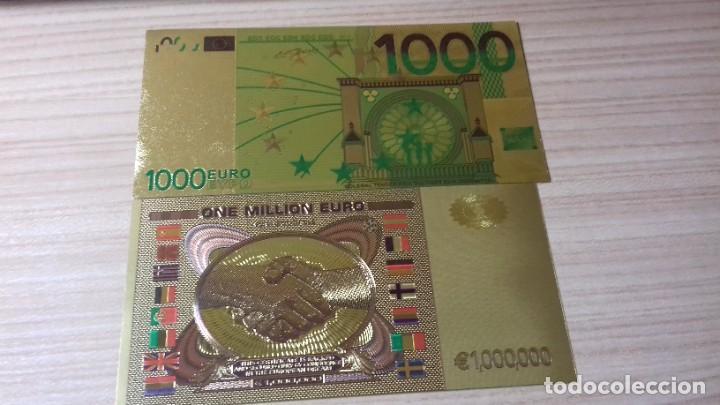 Reproducciones billetes y monedas: Lote de billetes de Euros con plancha de oro y certificado de autencidad - Foto 15 - 219694921