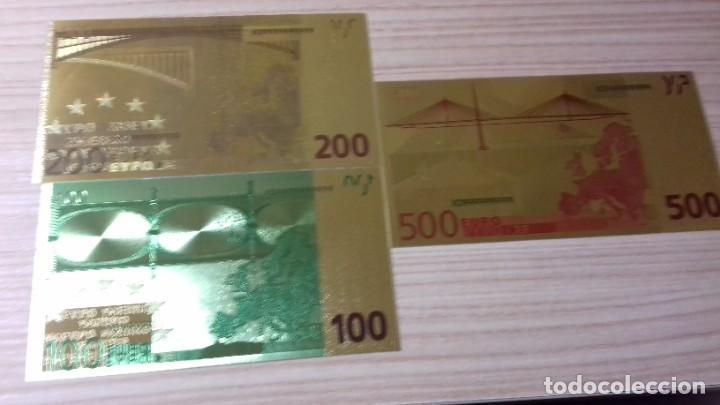 Reproducciones billetes y monedas: Lote de billetes de Euros con plancha de oro y certificado de autencidad - Foto 16 - 219694921