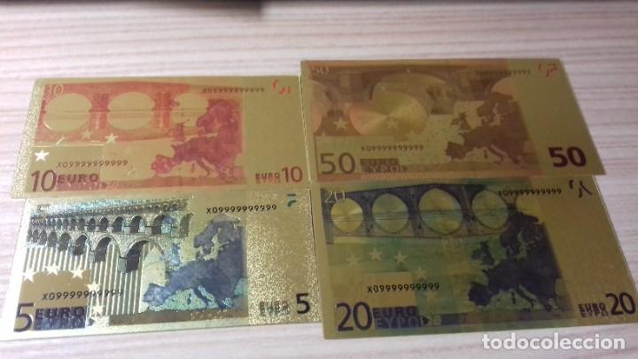 Reproducciones billetes y monedas: Lote de billetes de Euros con plancha de oro y certificado de autencidad - Foto 20 - 219694921