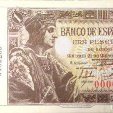Riproduzioni banconote e monete: BILLETE 1 UNA PESETA BANCO DE ESPAÑA - 21 MAYO 1943 - FACSIMIL FNMT REPRODUCCION. Lote 220478938