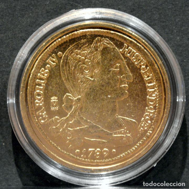Reproducciones billetes y monedas: REPRODUCCIÓN MONEDA DE ORO 8 ESCUDOS 1789 LA PLATA CARLOS IV METAL CON BAÑO DE ORO PURO - Foto 2 - 244818940