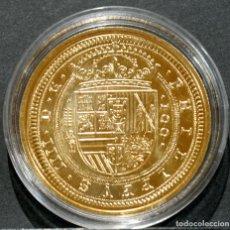 Reproducciones billetes y monedas: BONITA REPRODUCCIÓN MONEDA DE ORO 100 ESCUDOS SEGOVIA 1623 FELIPE IV ESPAÑA METAL BAÑO DE ORO PURO. Lote 220547218