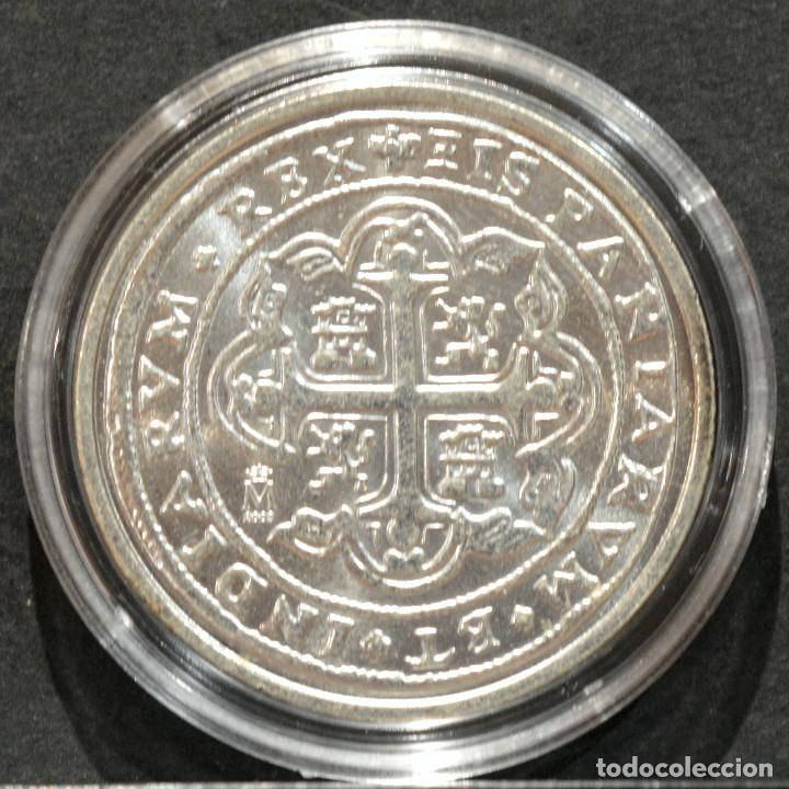 Reproducciones billetes y monedas: REPRODUCCIÓN MONEDA PLATA 8 REALES 1725 MEXICO LUIS I ESPAÑA METAL CON BAÑO DE PLATA PURA - Foto 2 - 220569537