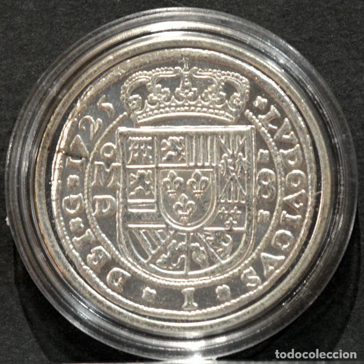 Reproducciones billetes y monedas: REPRODUCCIÓN MONEDA PLATA 8 REALES 1725 MEXICO LUIS I ESPAÑA METAL CON BAÑO DE PLATA PURA - Foto 3 - 220569537