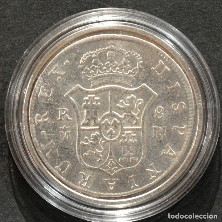 Reproducciones billetes y monedas: REPRODUCCIÓN MONEDA PLATA 8 REALES 1772 MADRID CARLOS III ESPAÑA METAL CON BAÑO DE PLATA PURA - Foto 3 - 220570096