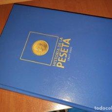 Reproduções notas e moedas: HISTORIA DE LA PESETA, ABC, ALBUM COMPLETO CON SUS BILLETES Y MONEDAS, SIN COLOCAR, EN SUS BOLSAS. Lote 220811162