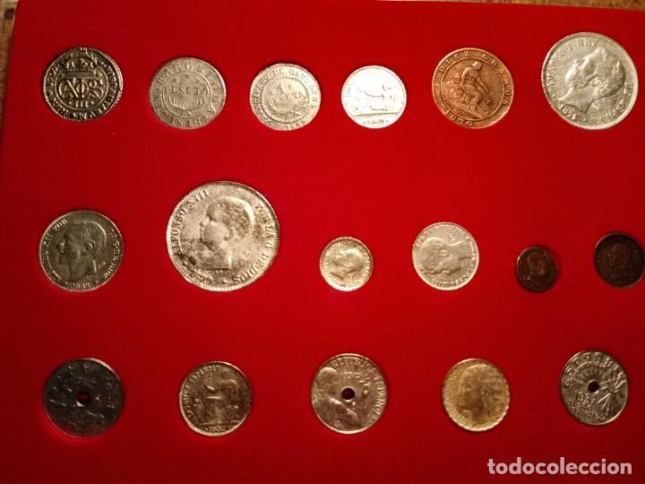 Reproducciones billetes y monedas: CUADRO DE LA HISTORIA DE LA PESETA CON TODAS LAS MONEDAS DESDE LOS PRINCIPIOS DE ESTA - Foto 2 - 220903012