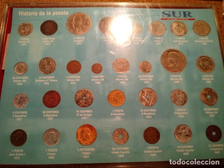 Reproducciones billetes y monedas: CUADRO DE LA HISTORIA DE LA PESETA CON TODAS LAS MONEDAS DESDE LOS PRINCIPIOS DE ESTA - Foto 8 - 220903012